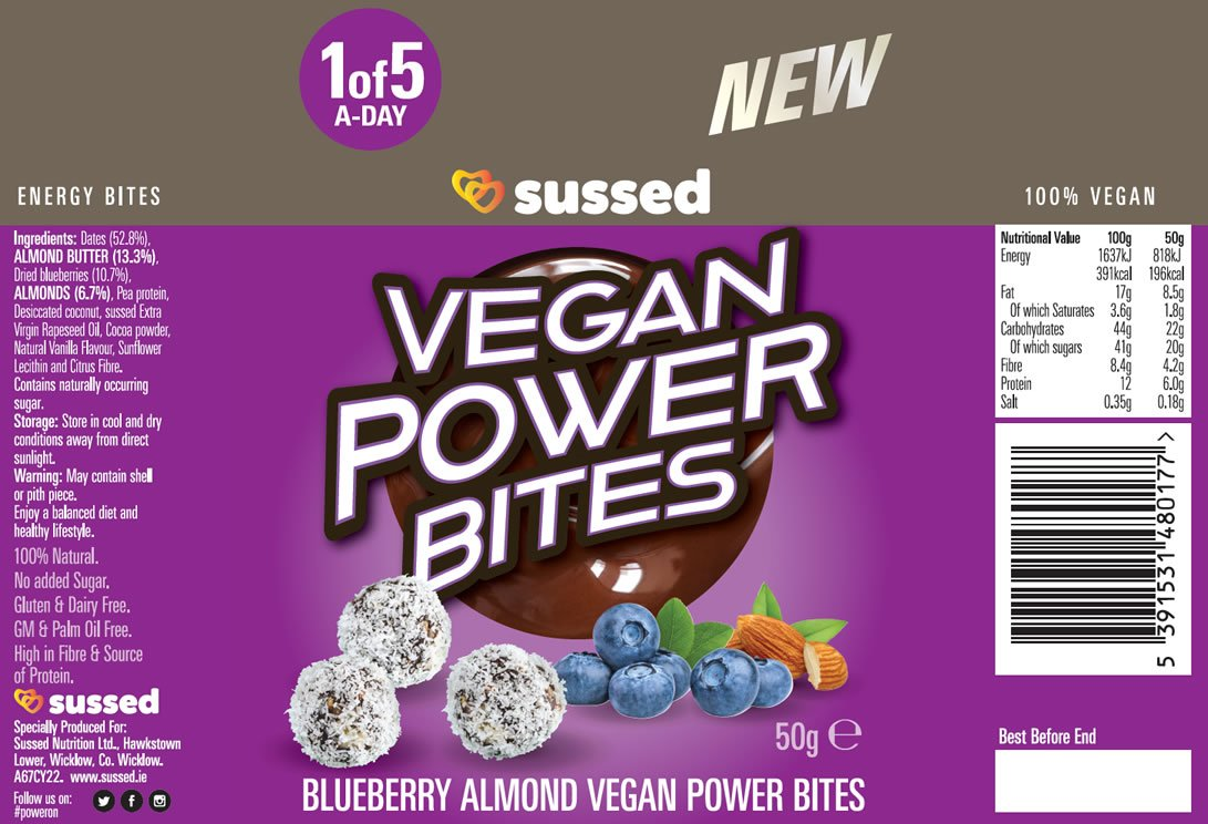 blueberry almond vegan power bites from sussed