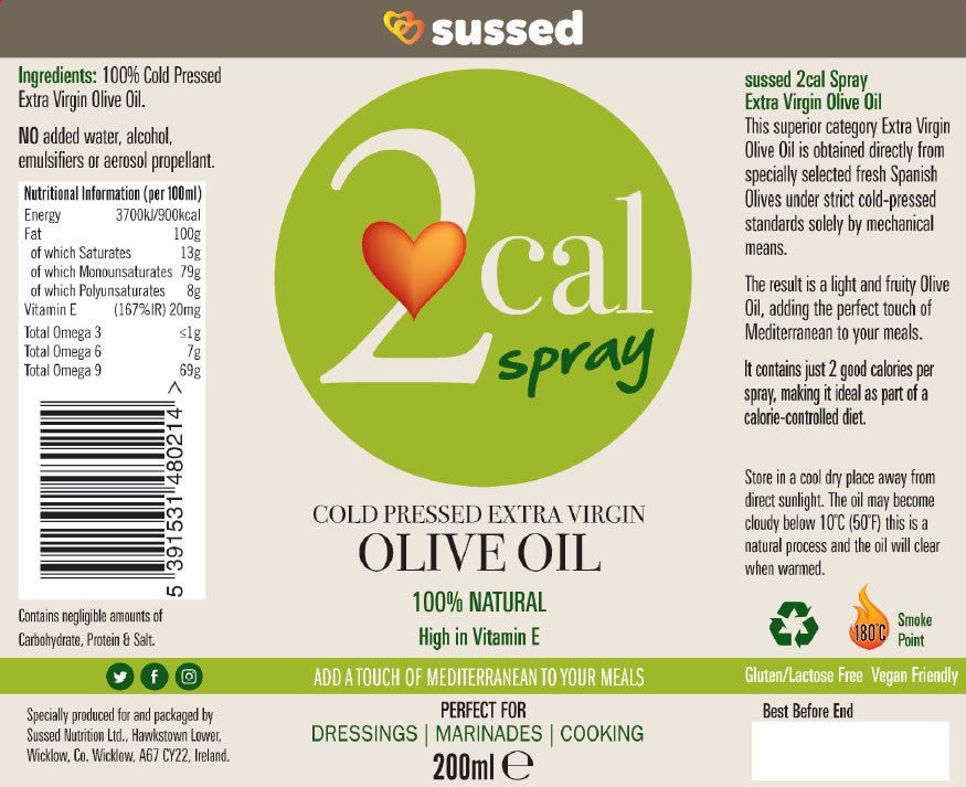 Nutritional Information 2cal Cold Pressed Extra Virgin Olive Oil sussed