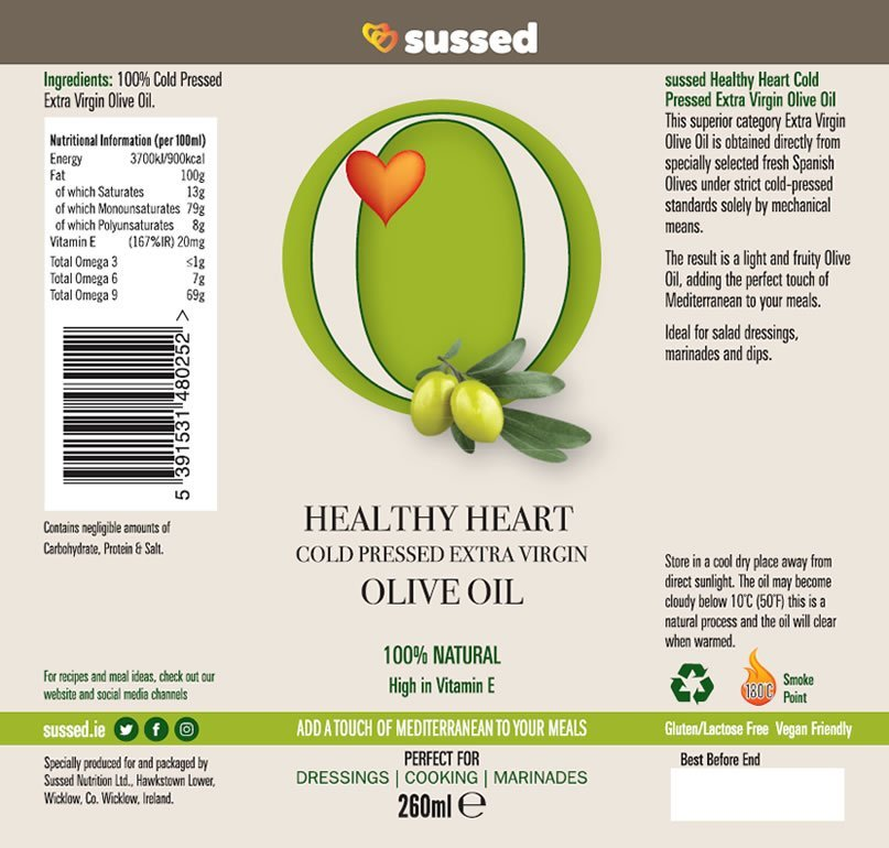 Nutritional Information Cold Pressed Extra Virgin Olive Oil from sussed